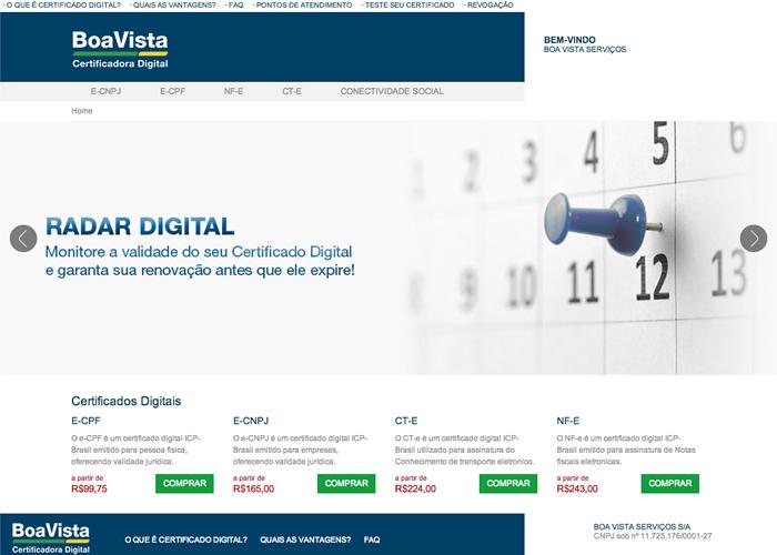 Sistema sobmedida para compra de certificado digital - Boa Vista Serviços